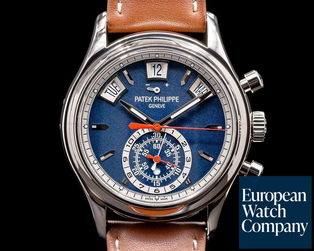 Patek Philippe 5960/01G-001 Annual Calendar 5960/01G Chronograph White Gold Blue Dial