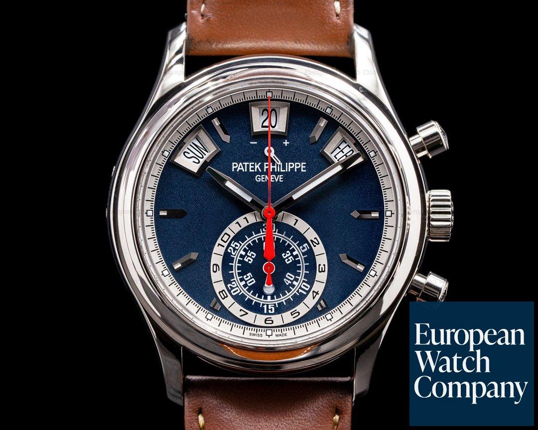 Patek Philippe Annual Calendar 5960/01G Chronograph White Gold Blue Dial 2020 Ref. 5960/01G-001