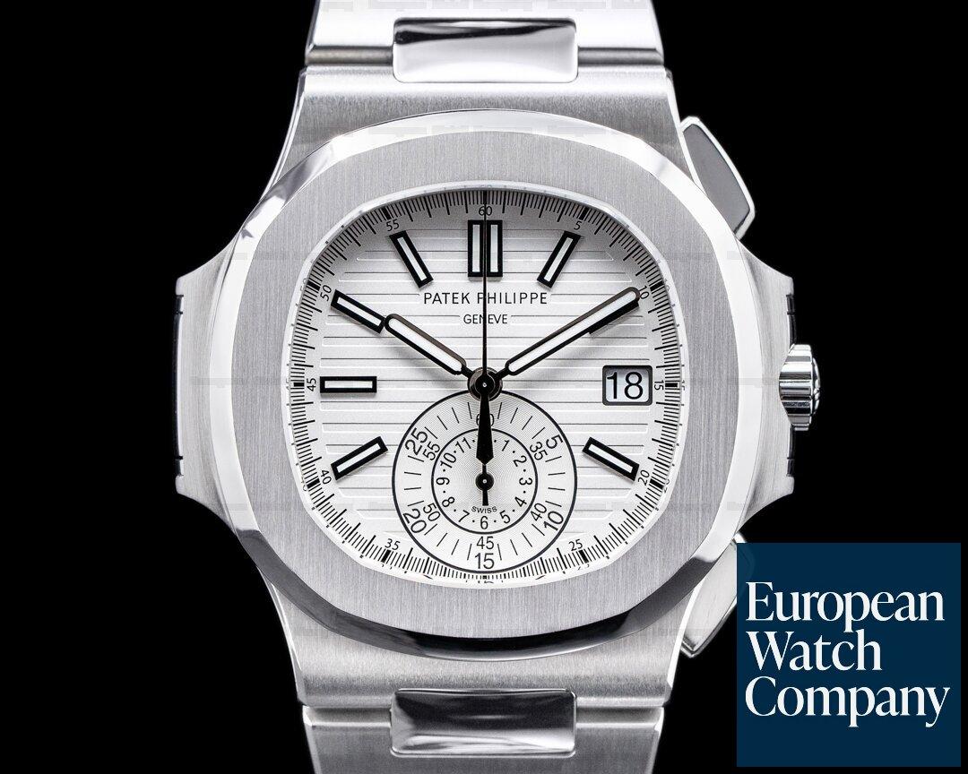 Patek Philippe 5980/1A-019 Nautilus 5980 Chronograph White Dial SS FULL SET