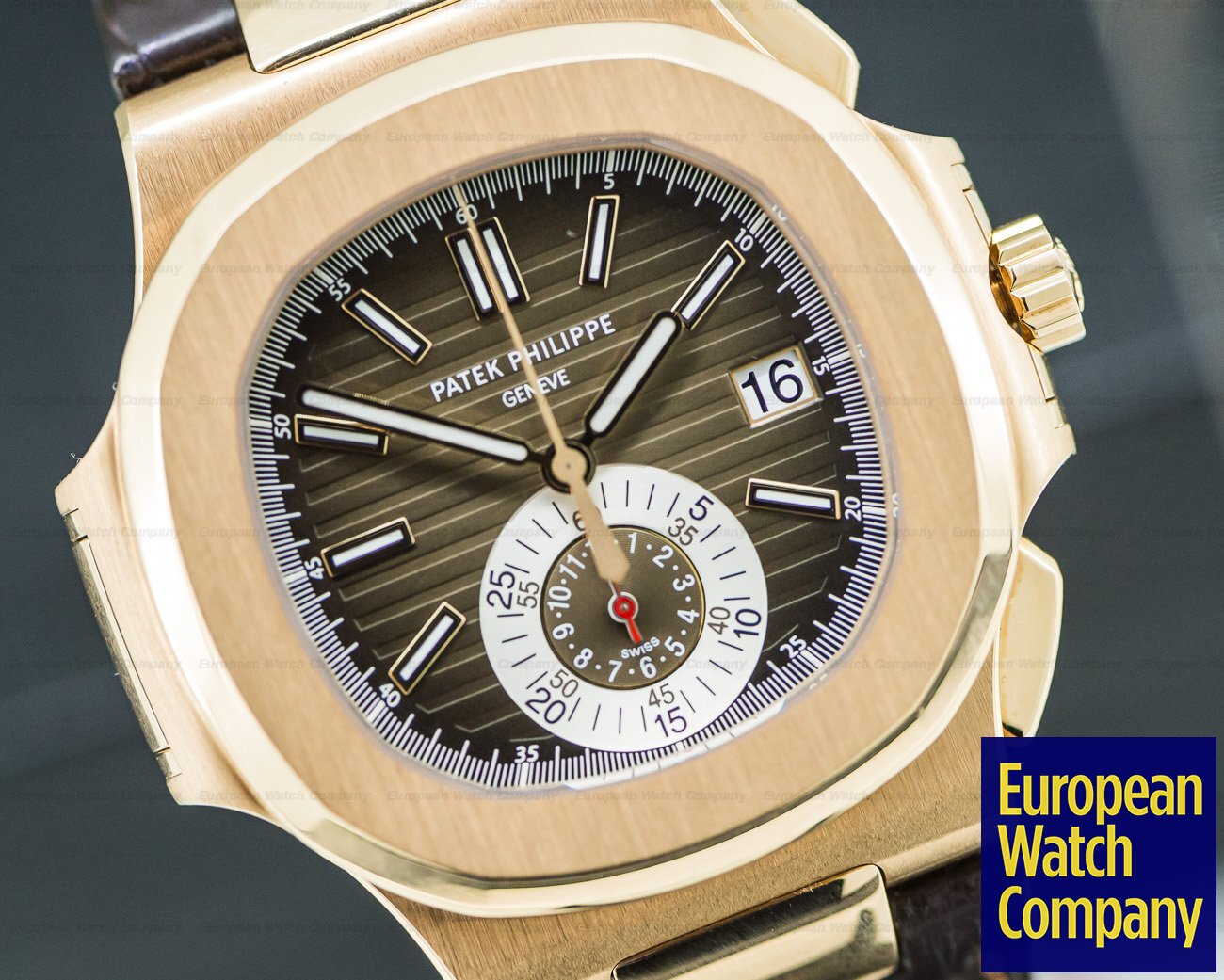 Patek Philippe 5980R-001 Nautilus Chronograph 18K Rose Gold / Brown Alligator