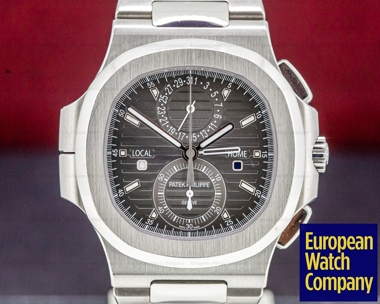 Patek Philippe 5990/1A-001 Nautilus Travel Time Chronograph Grey Dial SS FULL SET