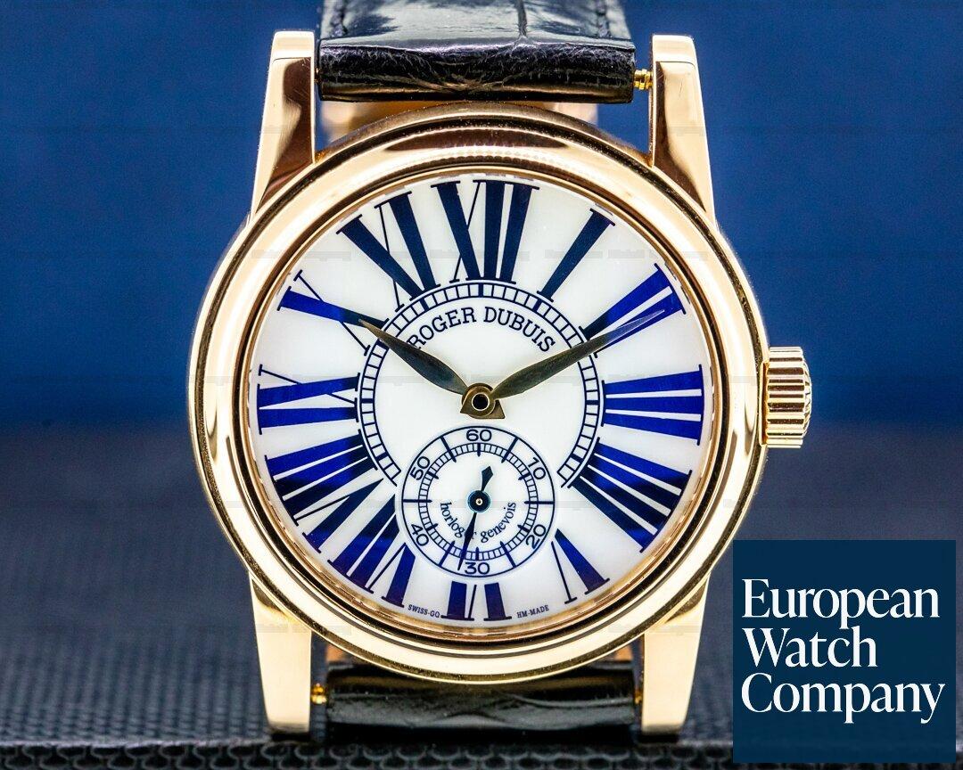 Roger Dubuis Hommage White Enamel Dial 18K Rose Gold Gold Chronometre RARE Ref. HO43.14.5