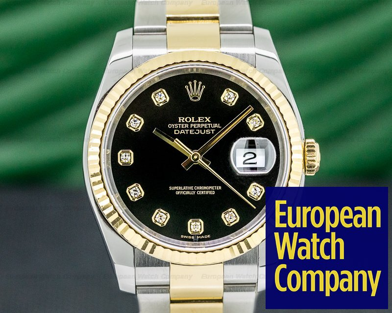 Rolex 116233 Datejust Black Dial with Diamonds 18K/SS Oyster