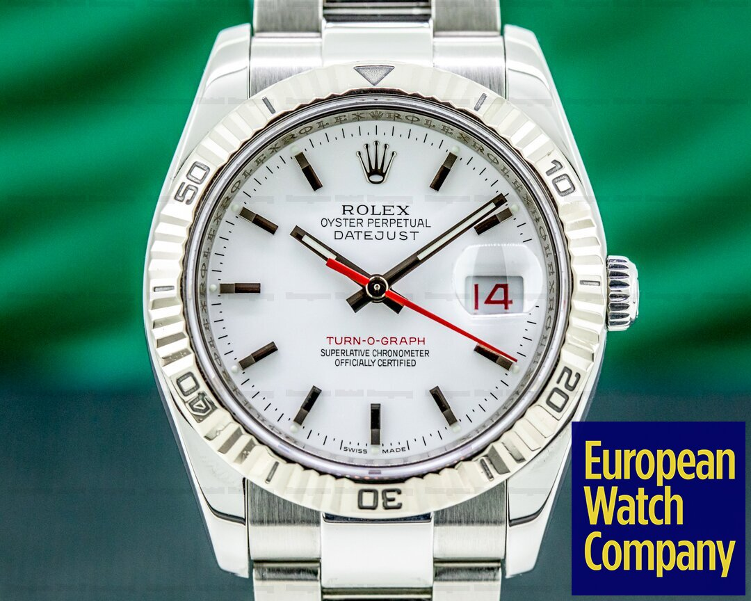 Rolex 116264 Datejust Turn O Graph SS White Dial
