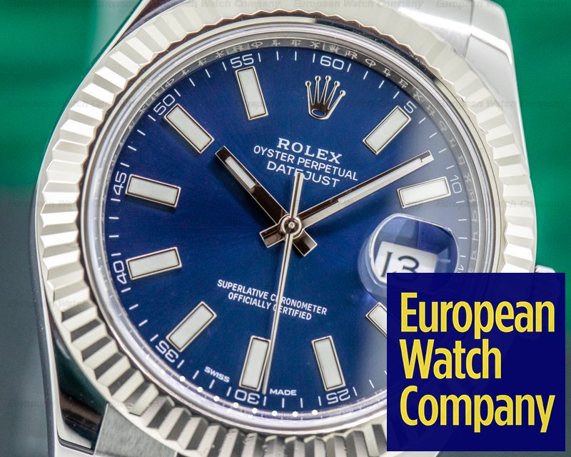 Rolex 116334 Datejust II White Stick Blue Dial SS