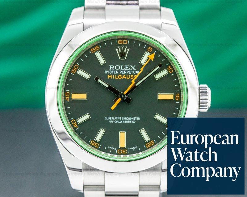 Rolex 116400  Milgauss 116400  SS Black Dial Green Crystal