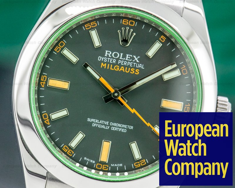 Rolex 116400 Milgauss SS Black Dial Green Crystal