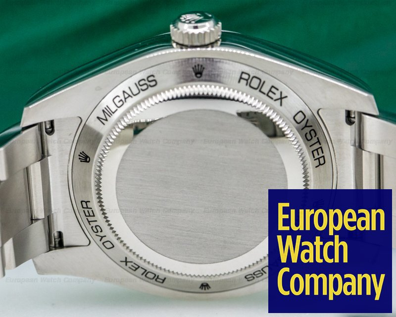 Rolex 116400V Milgauss SS Blue Dial Green Crystal