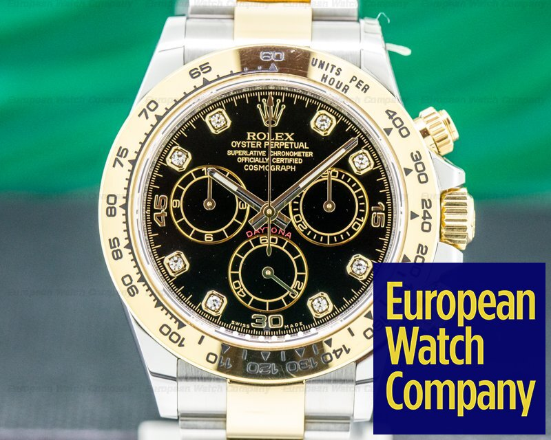 Rolex 116503 Daytona Black Dial Diamonds 18K / SS FULL SET 2019
