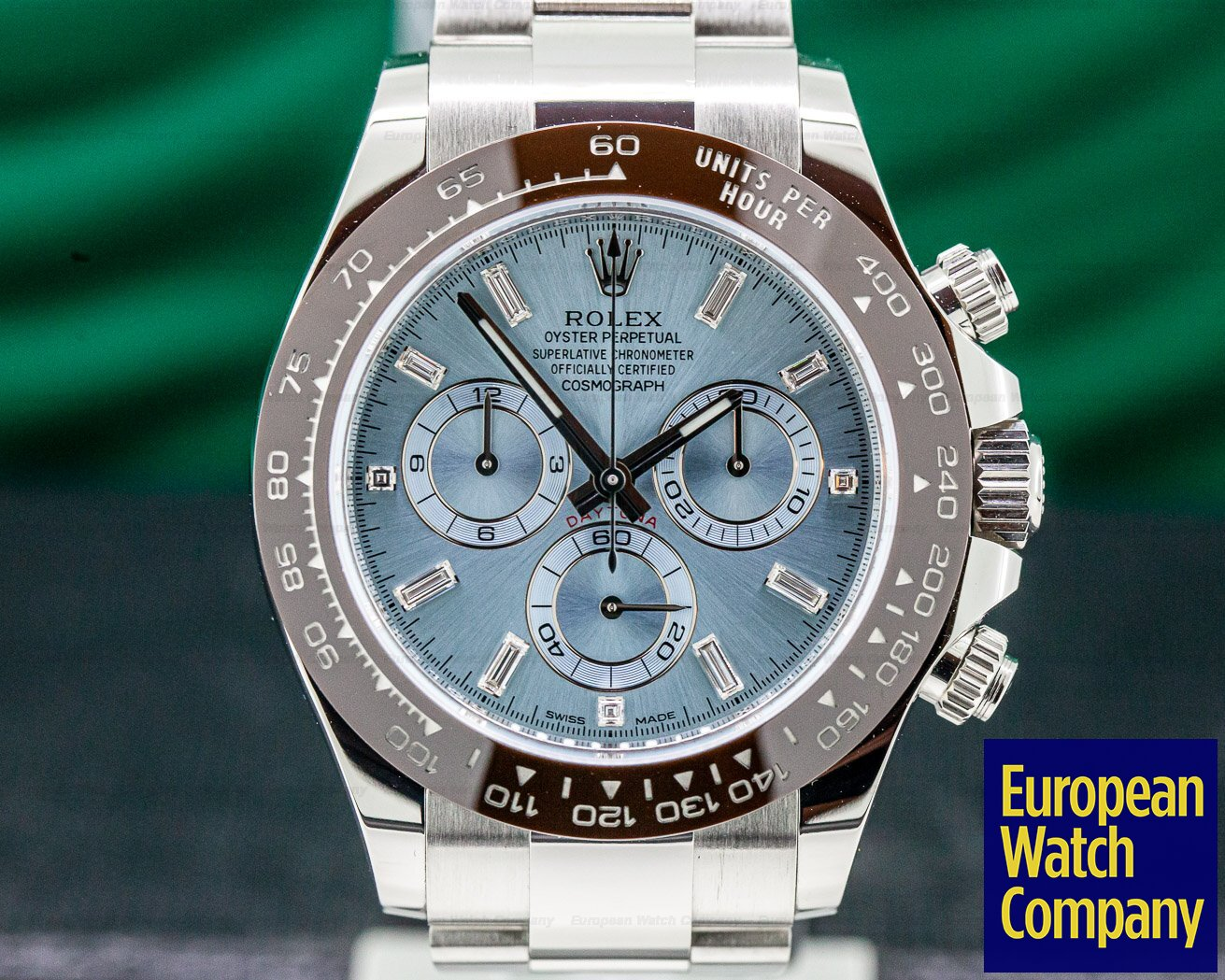 Rolex 116506 Daytona Platinum Glacier Blue / Brown Ceramic DIAMONDS