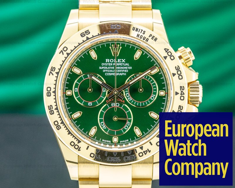 Rolex 116508 Daytona 18k Yellow Gold / GREEN DIAL *Celebrity Owned*