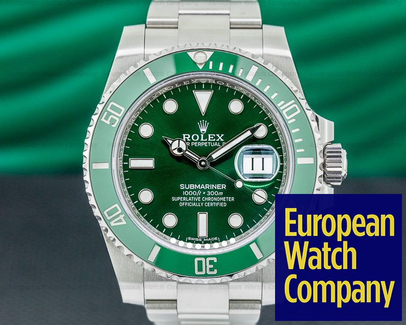 Rolex 116610LV Submariner HULK Green Ceramic Bezel Green Dial SS 2018