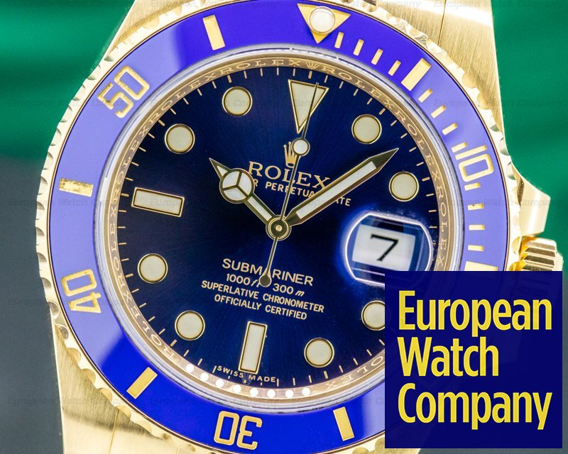 Rolex 116618LB Submariner 116618 18K Yellow Gold Blue Dial
