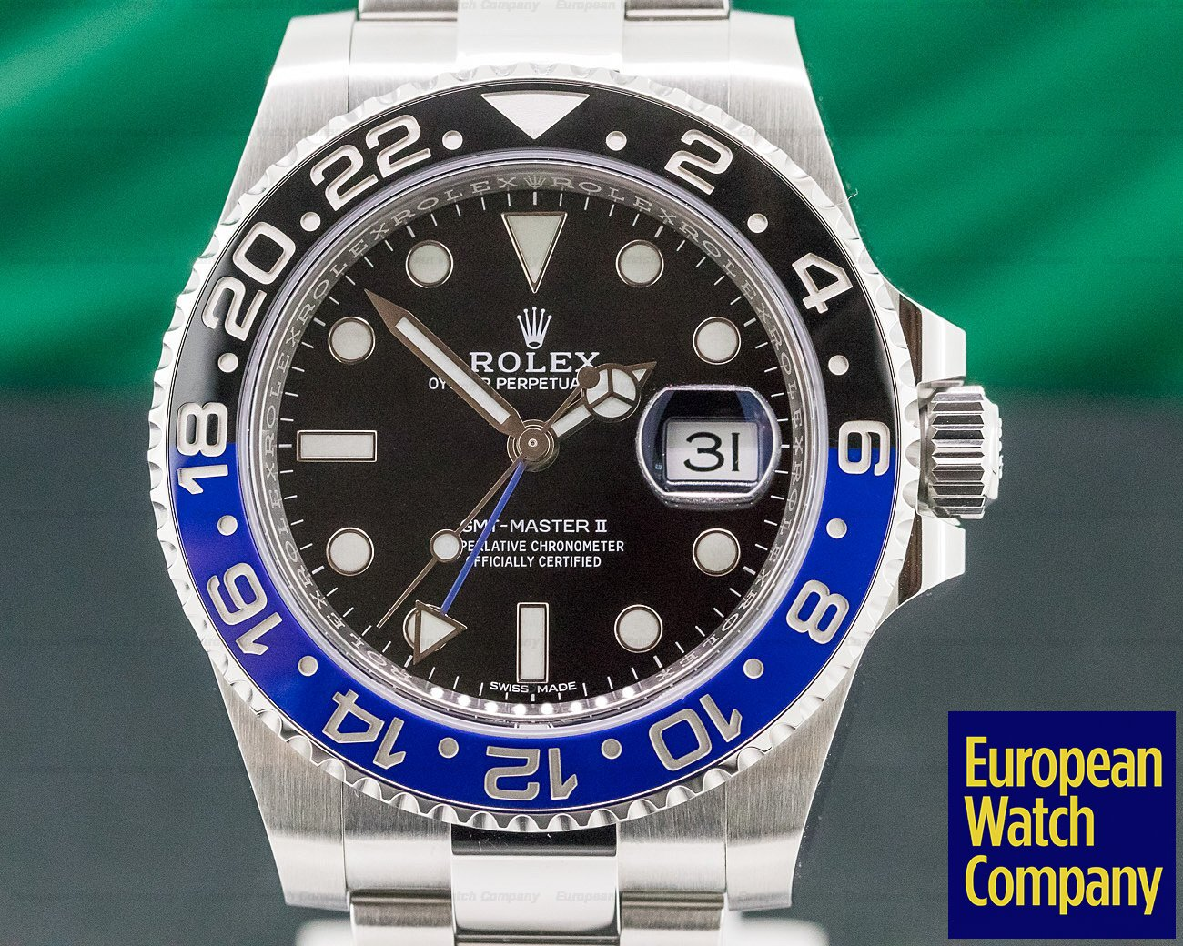"Rolex 116710BLNR GMT Master II Ceramic Black & Blue ""Batman"" SS 2019"