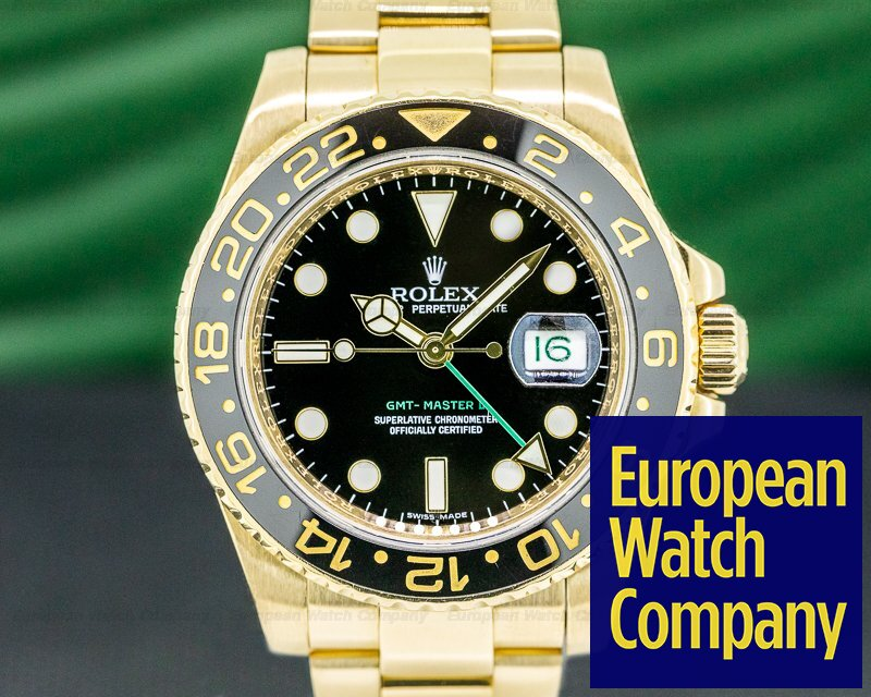 Rolex 116718 GMT Master II 116718 Black Dial 18K Yellow Gold / Bracelet