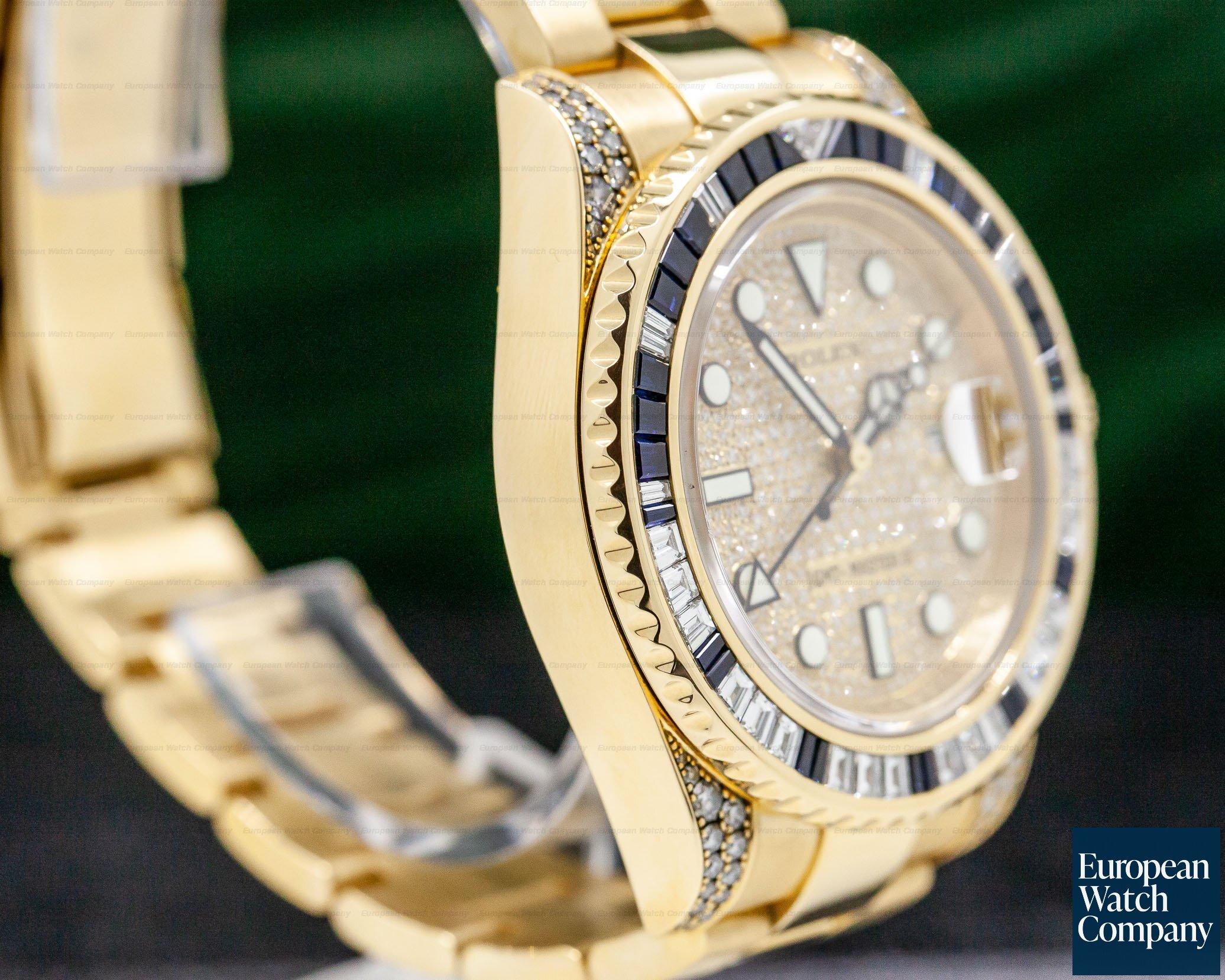 Rolex 116758SA GMT Master II Yellow Gold Pave Dial / Sapphire & Diamond Bezel