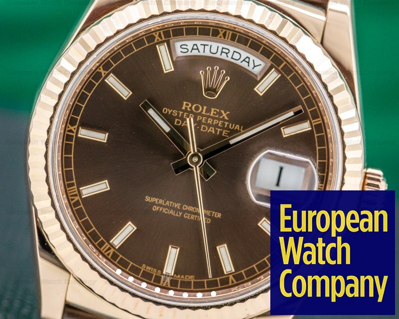 Rolex 118135 Day Date President 36mm Chocolate Dial 18K Rose Gold