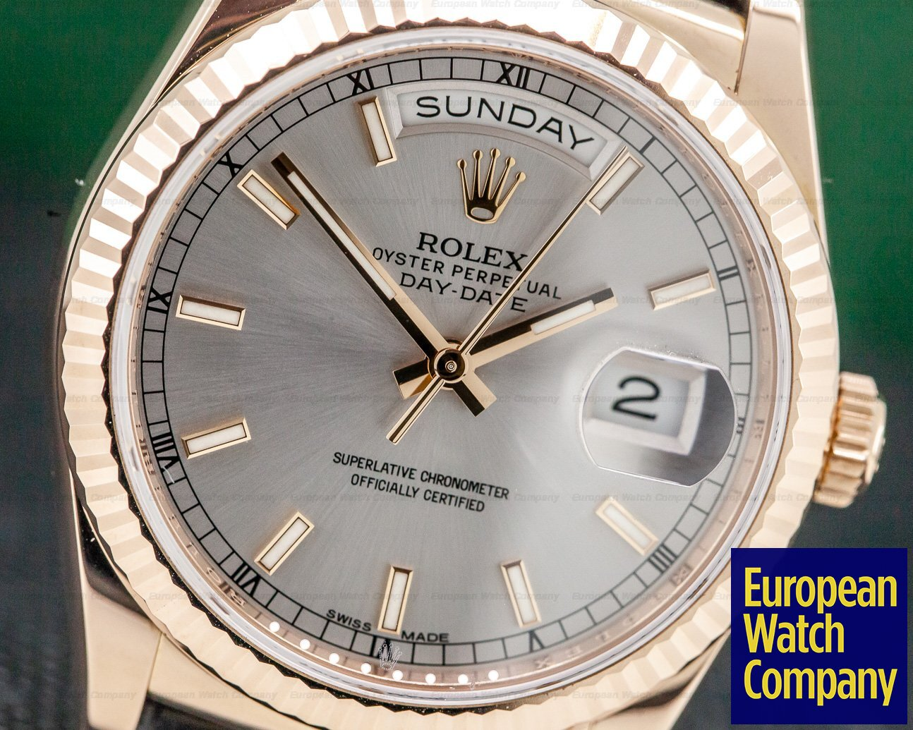 Rolex 118135 Day Date President 36mm Rhodium Dial 18K Rose Gold