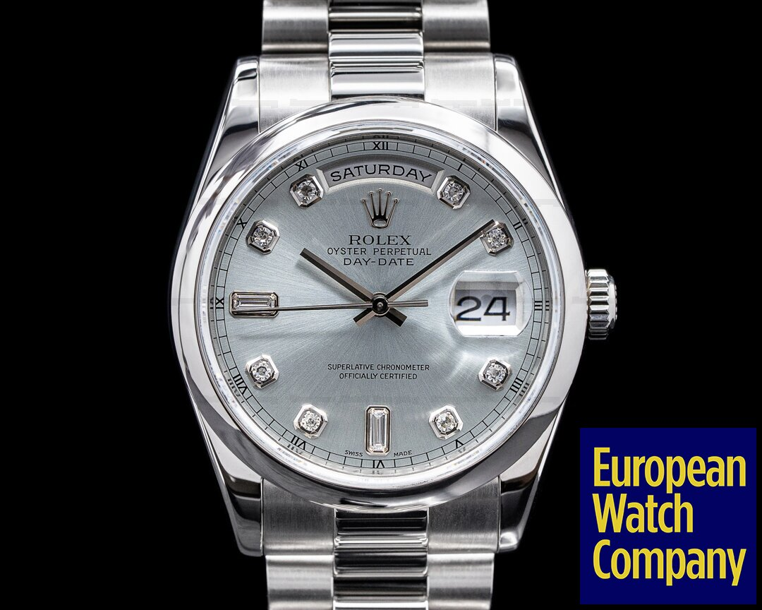 Rolex 118206 Day Date President 118206 Platinum Glacier Diamond Dial