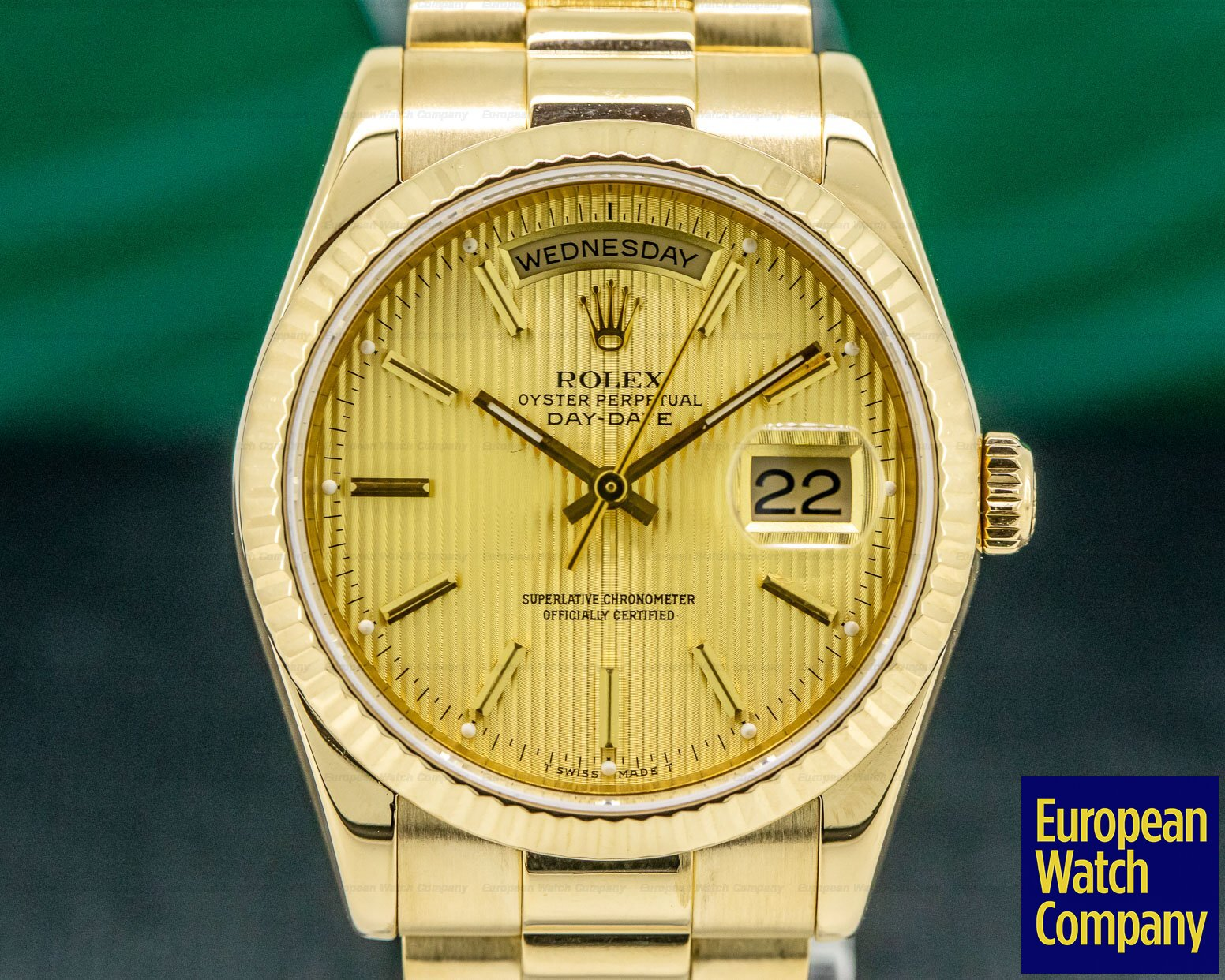 Rolex 118238 Day Date President Champagne Tapestry Dial 18K Yellow Gold
