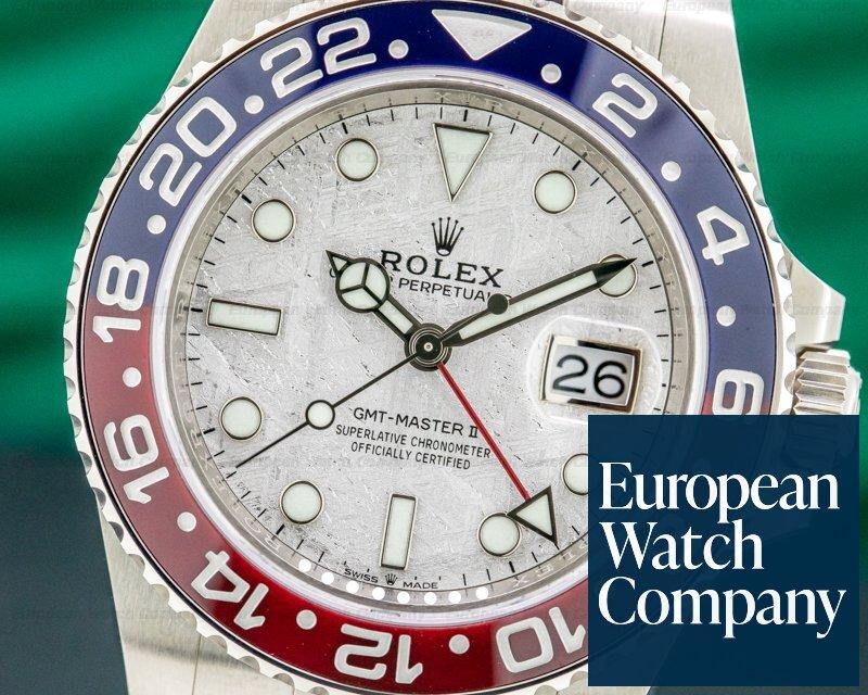 """Rolex 126719 METEORITE GMT Master II Ceramic """"Pepsi"""" White Gold METEORITE DIAL UNWORN"""