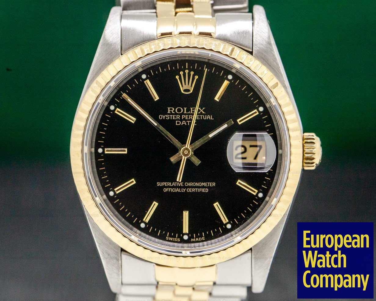 Rolex 15223 Oyster Date Black Dial 18K / SS