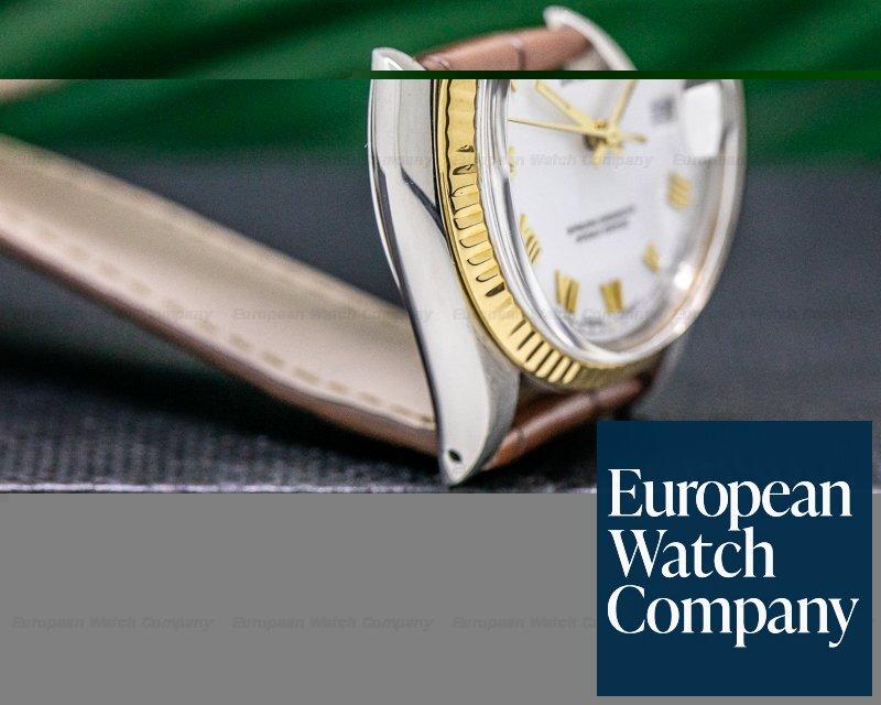 Rolex 16013 Datejust Jubilee 18K / SS White Dial Gold Roman Numerals Circa 1985