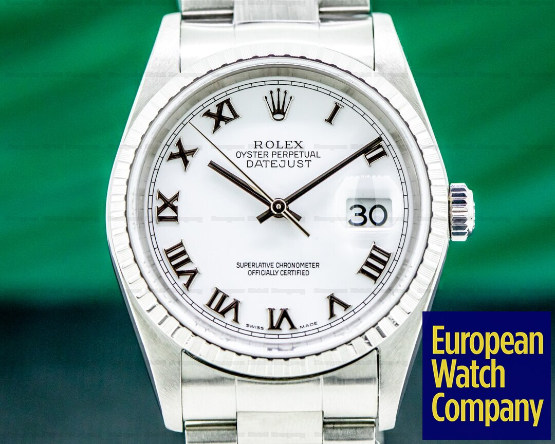 Rolex 16220 Datejust White Dial Roman Numerals SS Oyster
