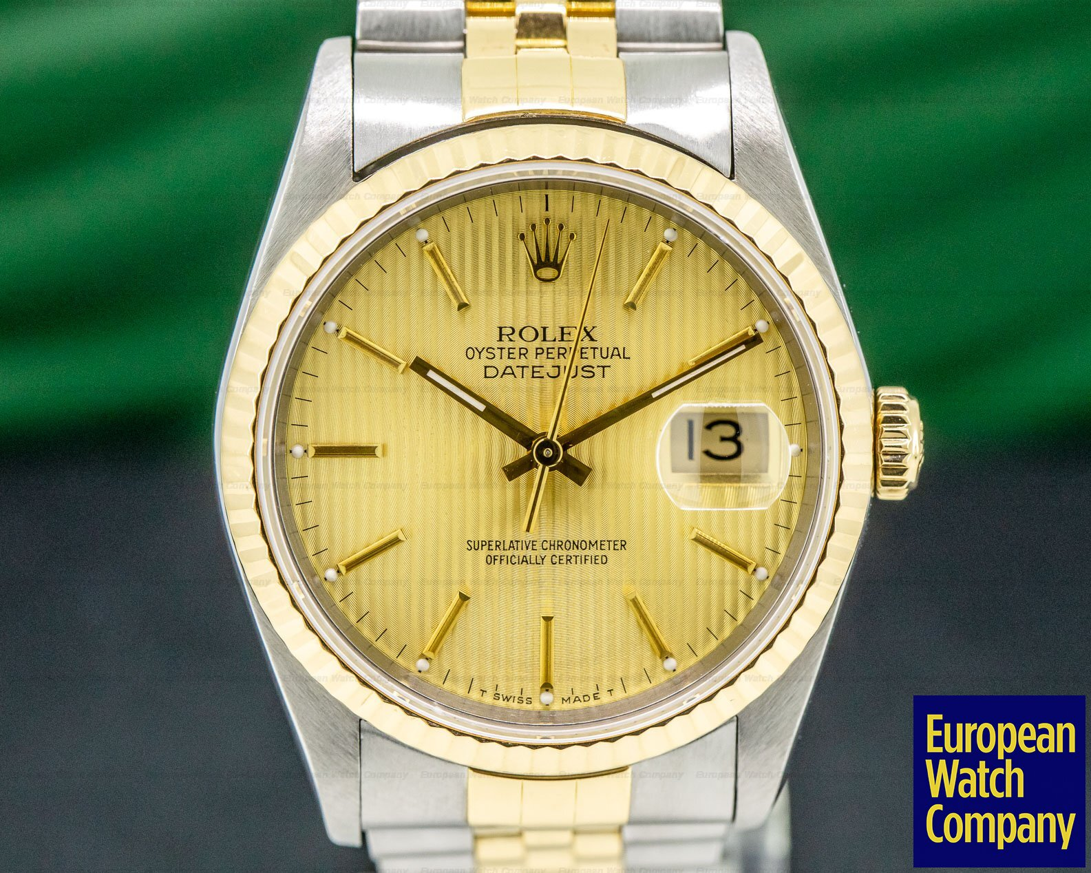 Rolex 16233 Datejust Jubilee Tapestry Dial 18K / SS Complete