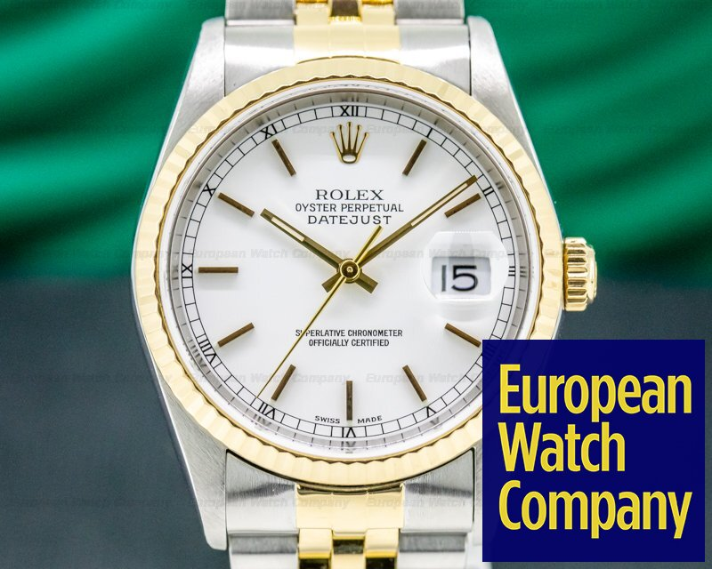 Rolex 16233 Datejust White Dial SS / 18K
