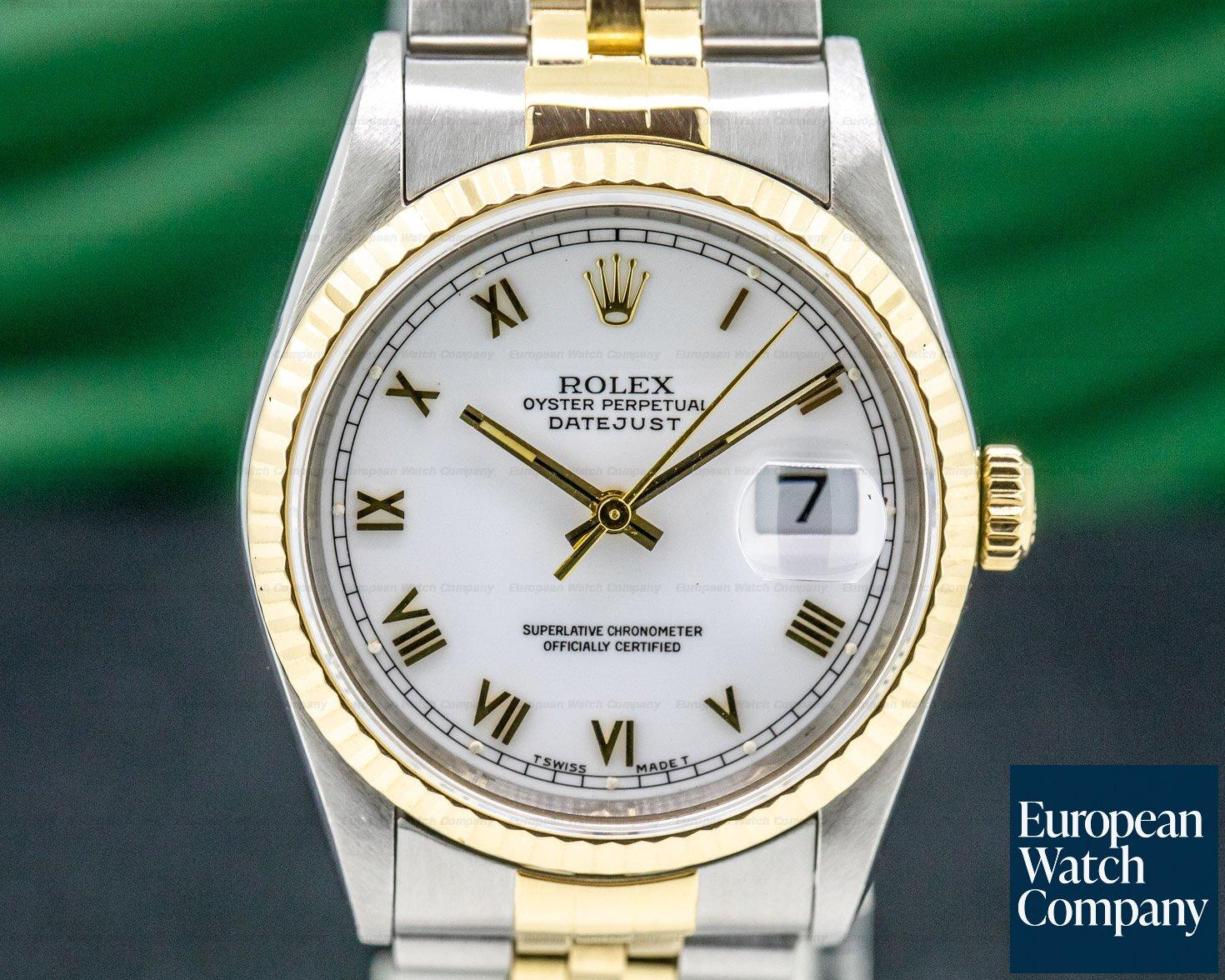 Rolex 16233 Datejust White Roman Jubiliee Roman 18K / SS