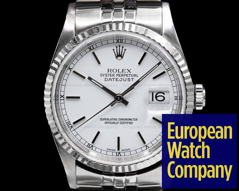 Rolex 16234 Datejust White Stick Dial SS / SS