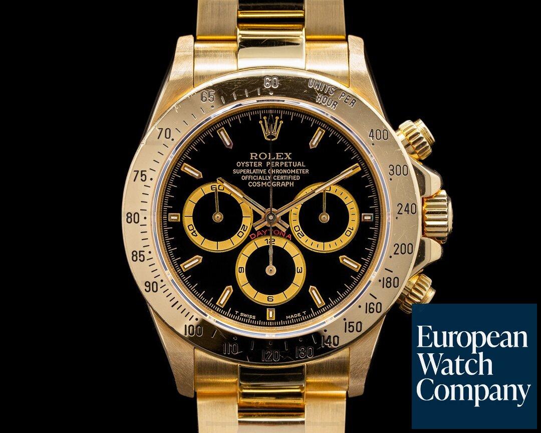 Rolex 16528 Daytona Zenith Black Dial 18K Yellow Gold / Bracelet NICE w PAPERS