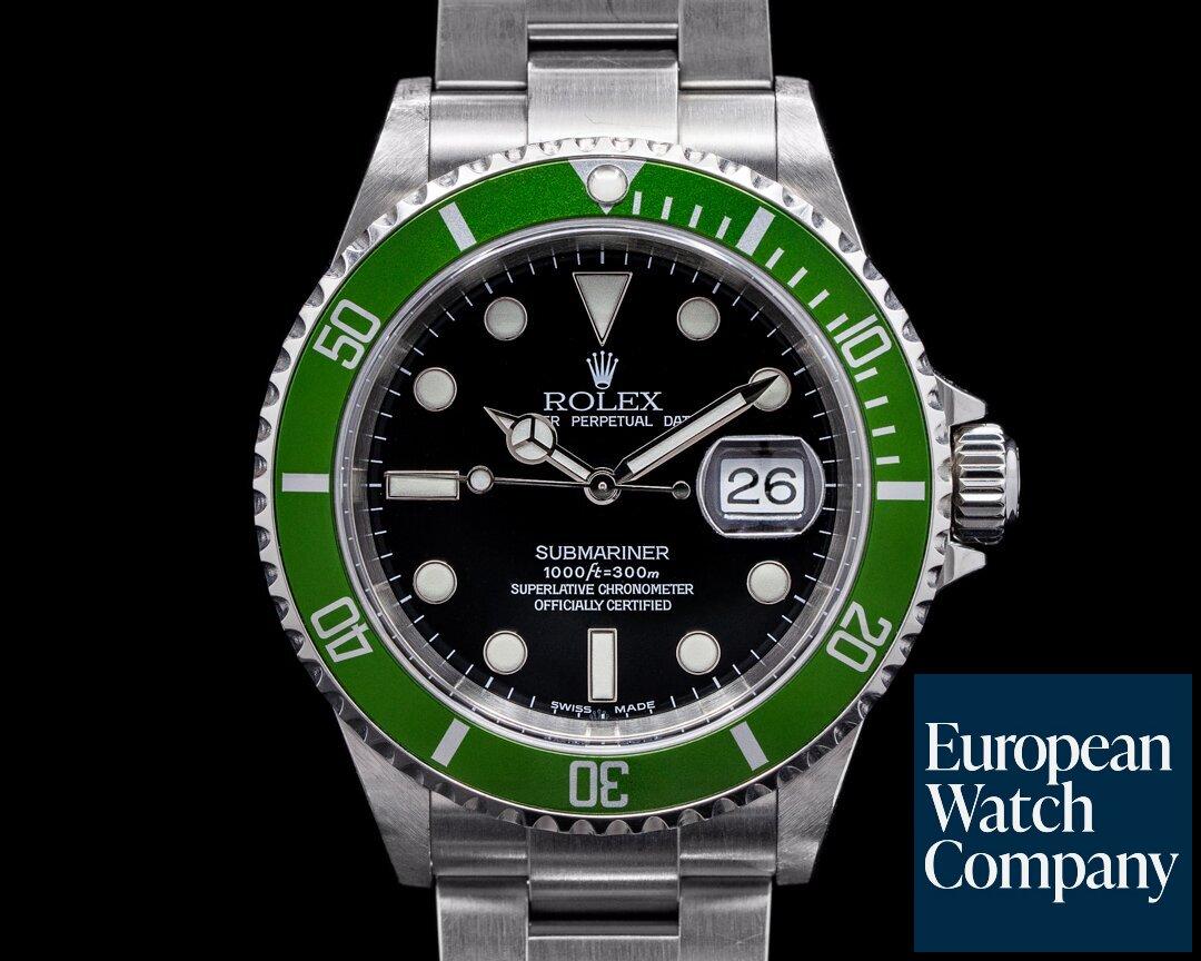 Rolex Submariner 50th Anniversary Flat 4 F Series Green Bezel ROLEX SERVICE Ref. 16610 LV FLAT 4