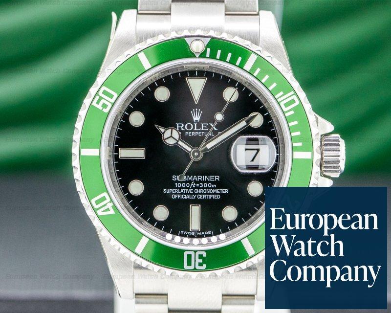 Rolex 16610LV Submariner 50th Anniversary SS Green Bezel COMPLETE