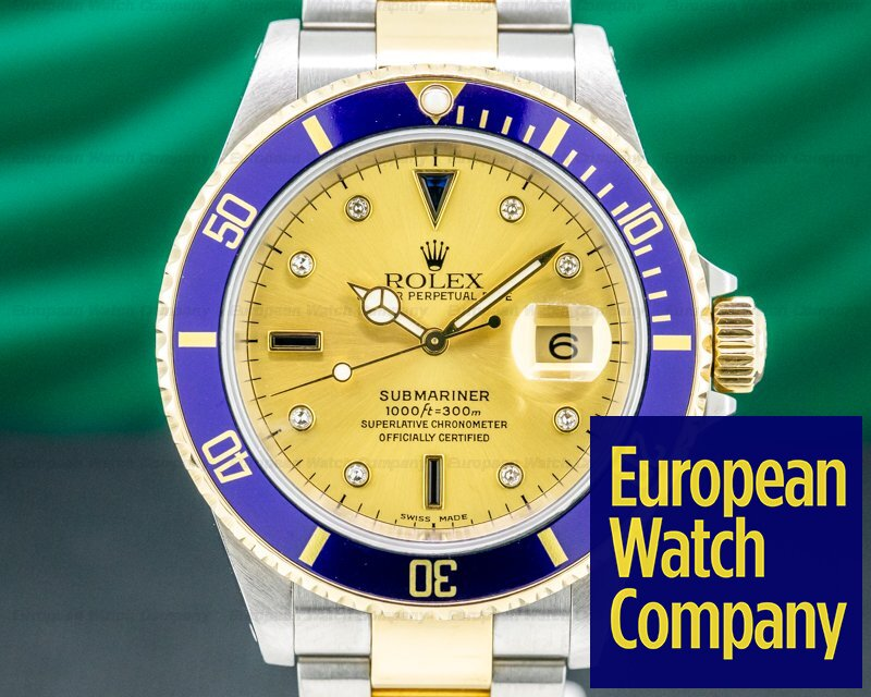 Rolex 16613 Submariner 18K / SS Champagne Serti Dial