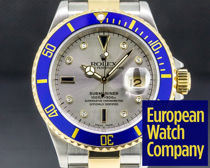 Rolex 16613 Submariner 18K / SS Silver Serti Dial