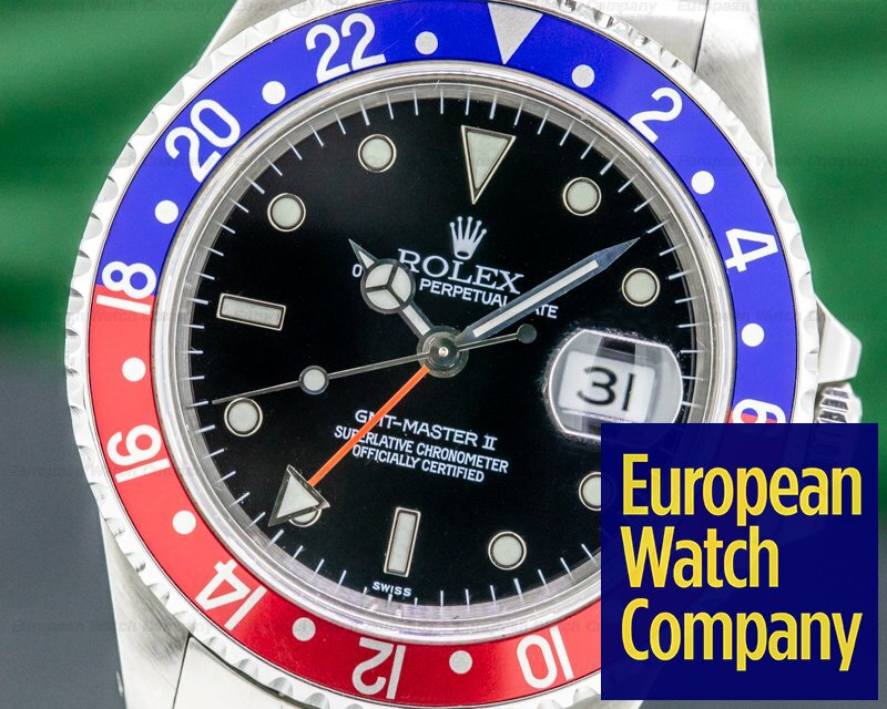 Rolex 16710 GMT Master II SS Red / Blue Pepsi Bezel SWISS ONLY