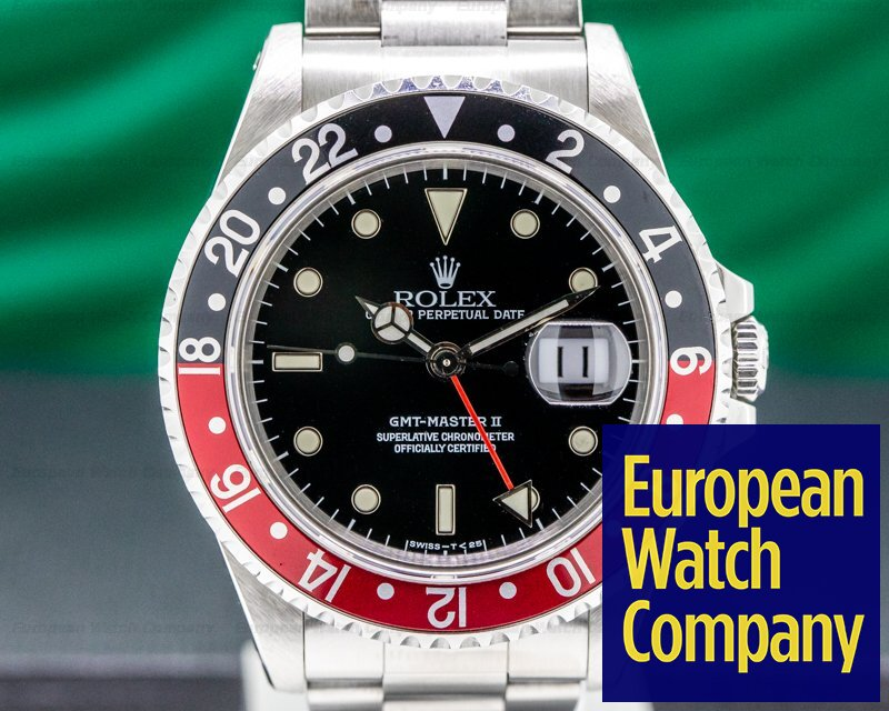 Rolex 16710 T GMT Master II SS Red / Black Coke FULL SET NICE
