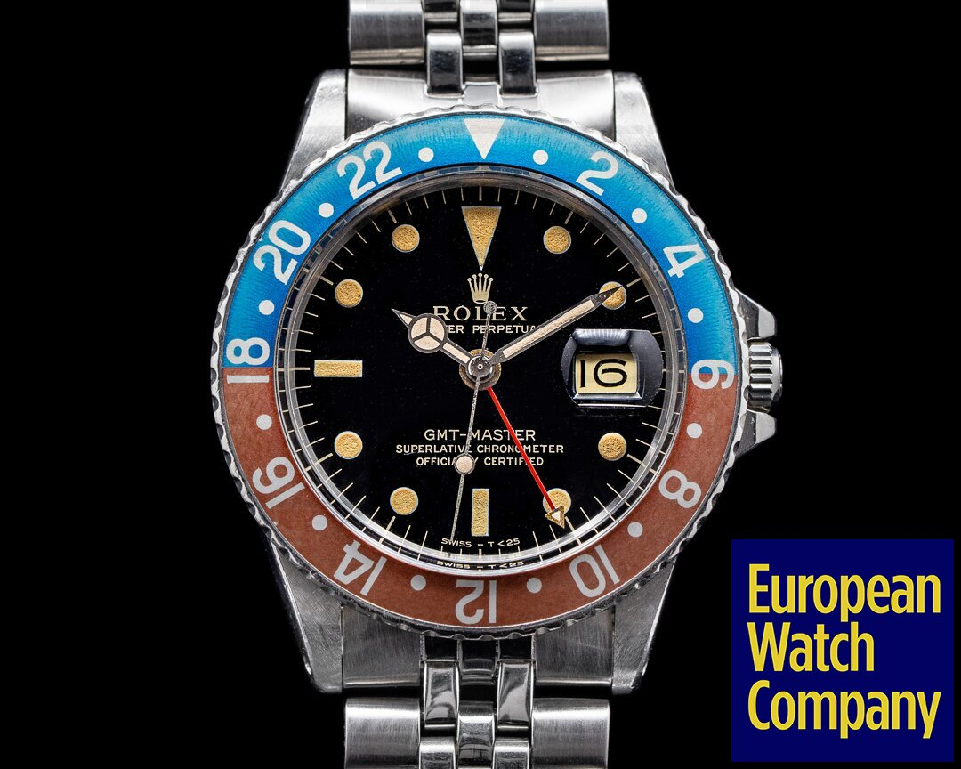 Rolex Vintage GMT Master Gilt 1675 Dial Pepsi c. 1966 BOX AND PAPERS Ref. 1675