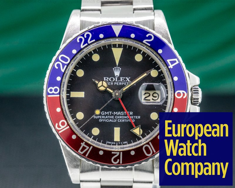 """Rolex 16750 GMT Master Transitional """"Pepsi Bezel"""" Matte Dial Circa 1980"""