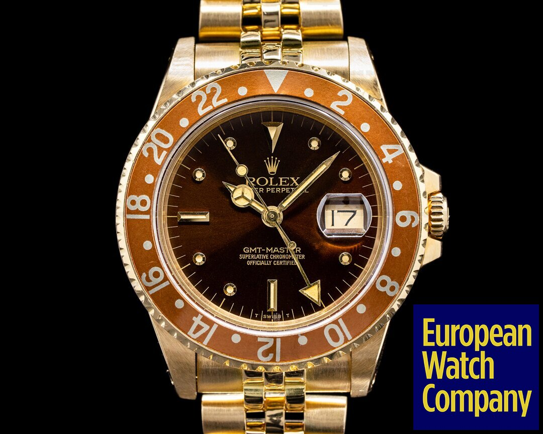 Rolex 16758 GMT Master 16758 Nipple Dial 18k Yellow Gold Jubilee NICE