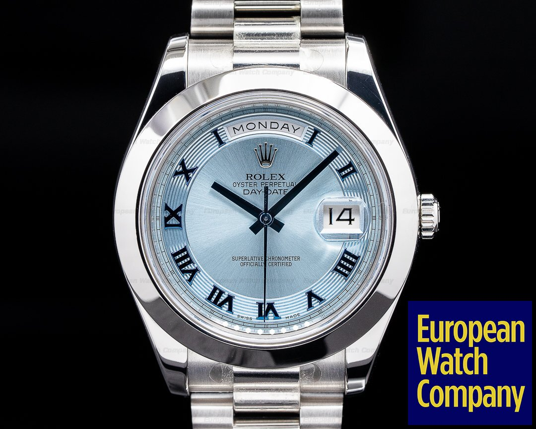 Rolex 218206 Platinum Day Date II Glacier Dial Roman Numerals UNWORN