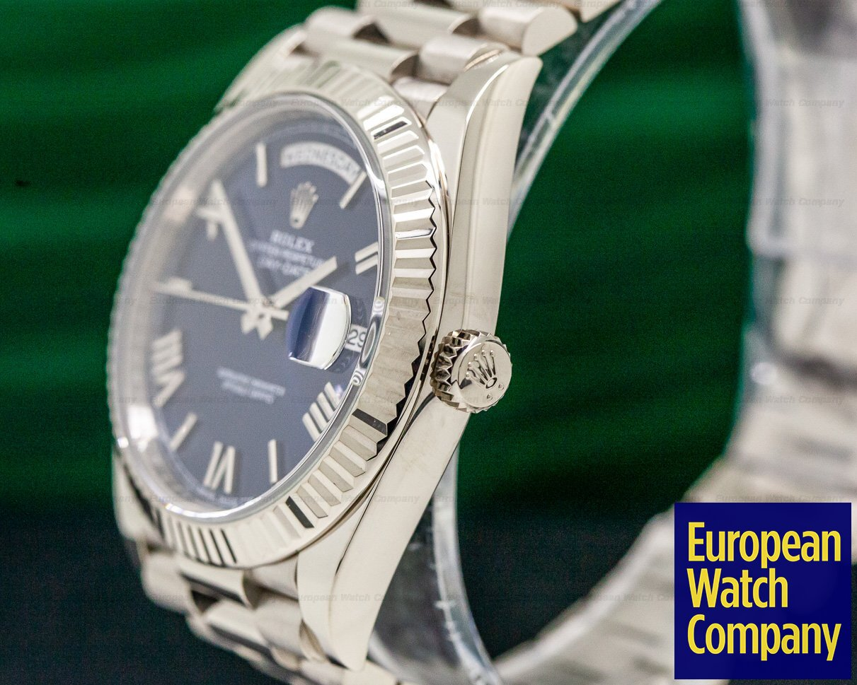 32157 Rolex 228239 Day Date President 18k White Gold Blue Dial 40mm
