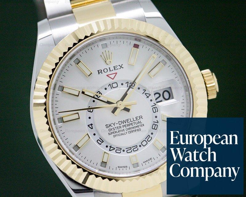 Rolex 326933 Sky Dweller Steel & Yellow Gold White Dial UNWORN