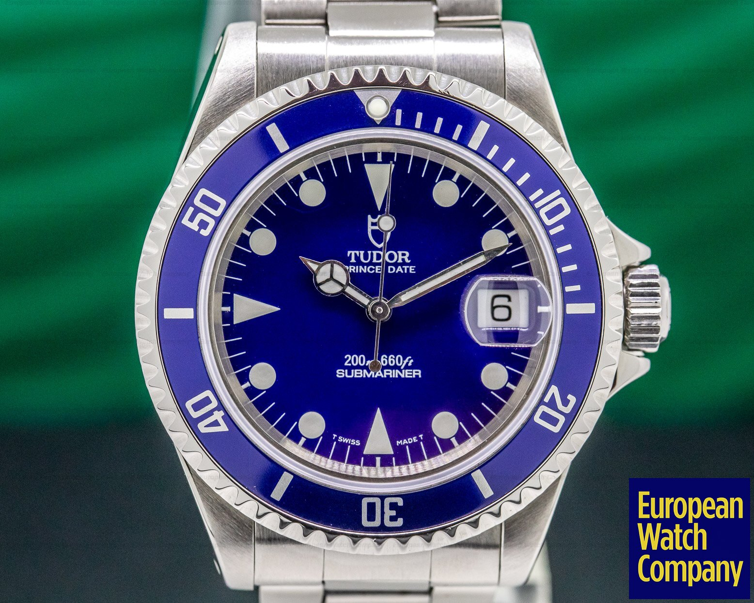 Tudor 79190 Submariner Black Matte Blue SS Bracelet / 1997