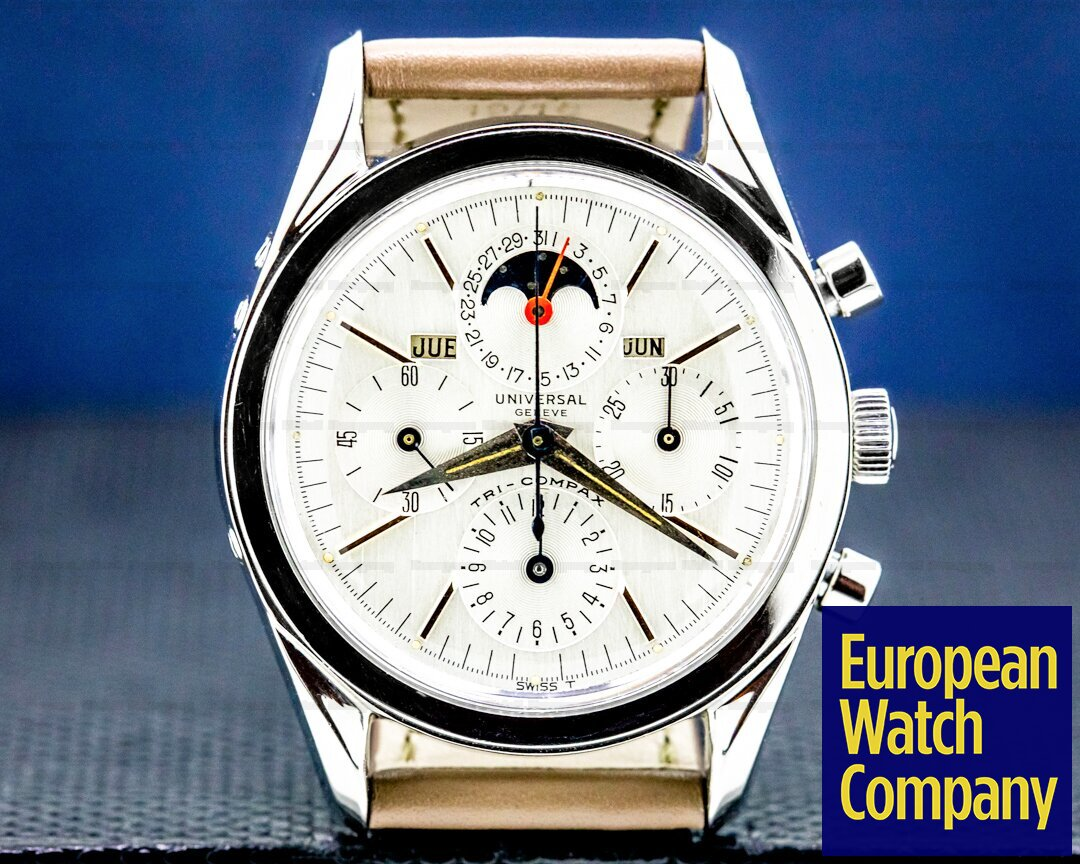 Universal Geneve Tri-Compax Stainless Steel / Silver Dial NICE Ref. 222100-1