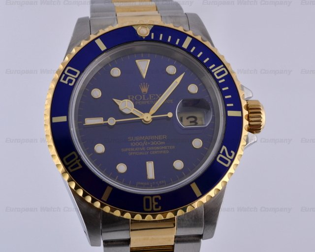 Rolex Submariner 2 Tone Blue Dial T Series (1996)Ref. No. 16613