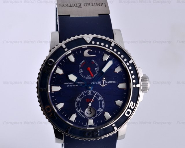 european company ulysse nardin maxi marine blue surf blue rubber ss limited 43mm