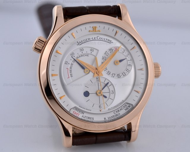 Jaeger LeCoultre Master Geographic 18K Rose Gold Half Hunter Case White Dial 38MMRef. No. Q142292
